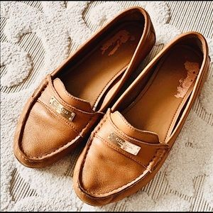 Coach size 8.5 brown leather loafers shoes slipper
